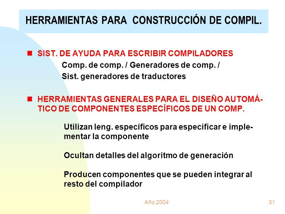 Año 200431 nSIST. DE AYUDA PARA ESCRIBIR COMPILADORES Comp. de comp. / Generadores de comp. / Sist. generadores de traductores nHERRAMIENTAS GENERALES