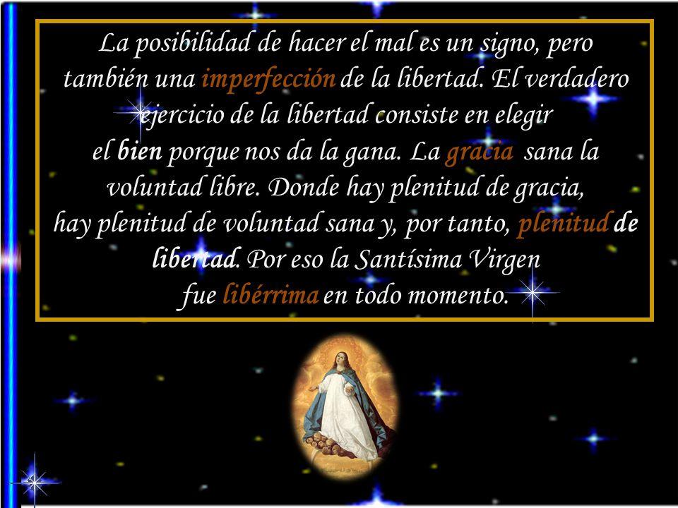 Los Padres descartan no sólo cualquier especie de pecado en la Madre de Dios, también la juzgan ajena a toda imperfección voluntaria, hasta el punto d