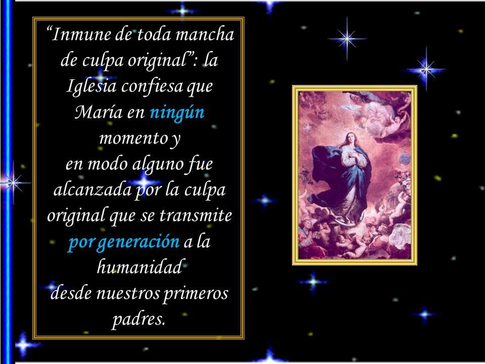 Inmune de toda mancha de culpa original: la Iglesia confiesa que María en ningún momento y en modo alguno fue alcanzada por la culpa original que se transmite por generación a la humanidad desde nuestros primeros padres.