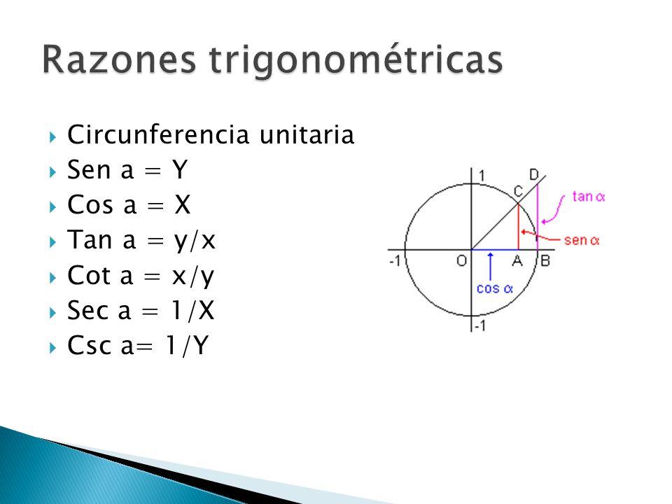 Circunferencia unitaria Sen a = Y Cos a = X Tan a = y/x Cot a = x/y Sec a = 1/X Csc a= 1/Y