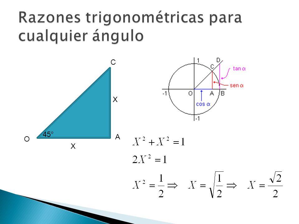 O C A 45° X X