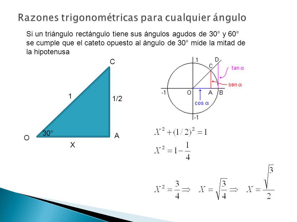 O C Si un triángulo rectángulo tiene sus ángulos agudos de 30° y 60° se cumple que el cateto opuesto al ángulo de 30° mide la mitad de la hipotenusa A