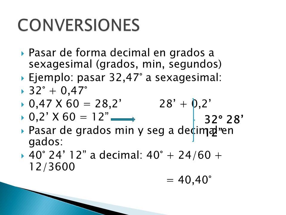 Pasar de forma decimal en grados a sexagesimal (grados, min, segundos) Ejemplo: pasar 32,47° a sexagesimal: 32° + 0,47° 0,47 X 60 = 28,2 28 + 0,2 0,2