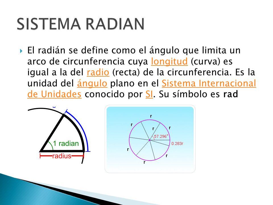 El radián se define como el ángulo que limita un arco de circunferencia cuya longitud (curva) es igual a la del radio (recta) de la circunferencia. Es
