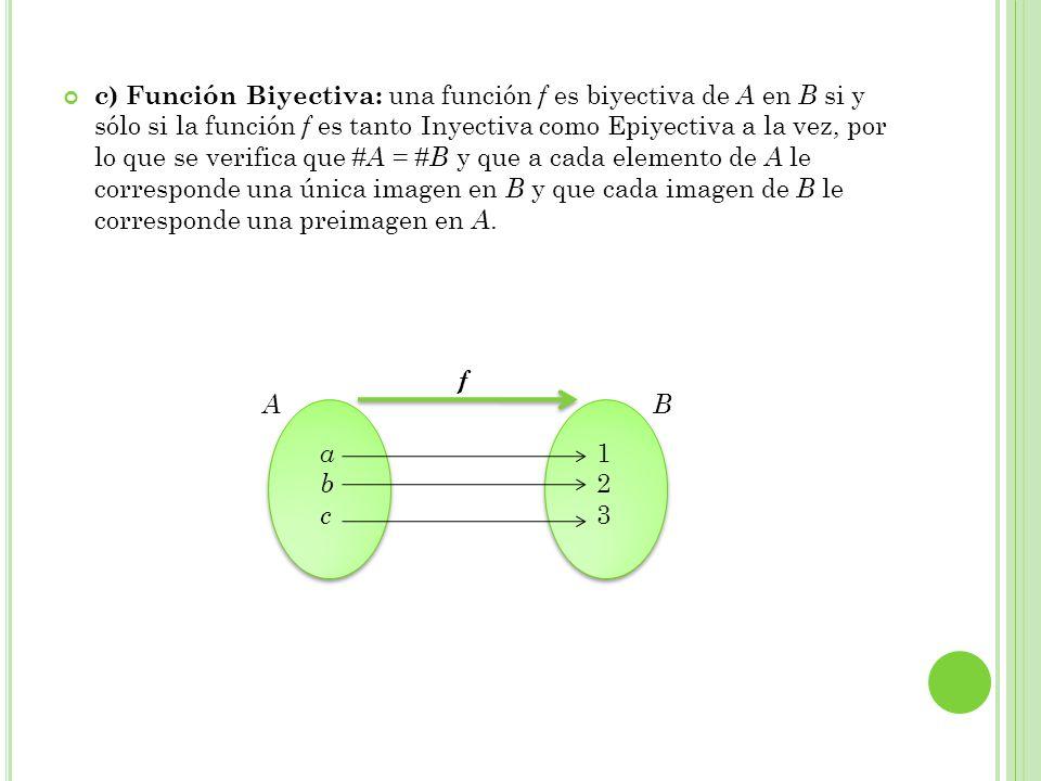 c) Función Biyectiva: una función f es biyectiva de A en B si y sólo si la función f es tanto Inyectiva como Epiyectiva a la vez, por lo que se verifi