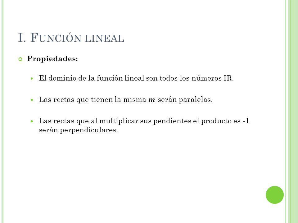 I. F UNCIÓN LINEAL Propiedades: El dominio de la función lineal son todos los números IR. Las rectas que tienen la misma m serán paralelas. Las rectas