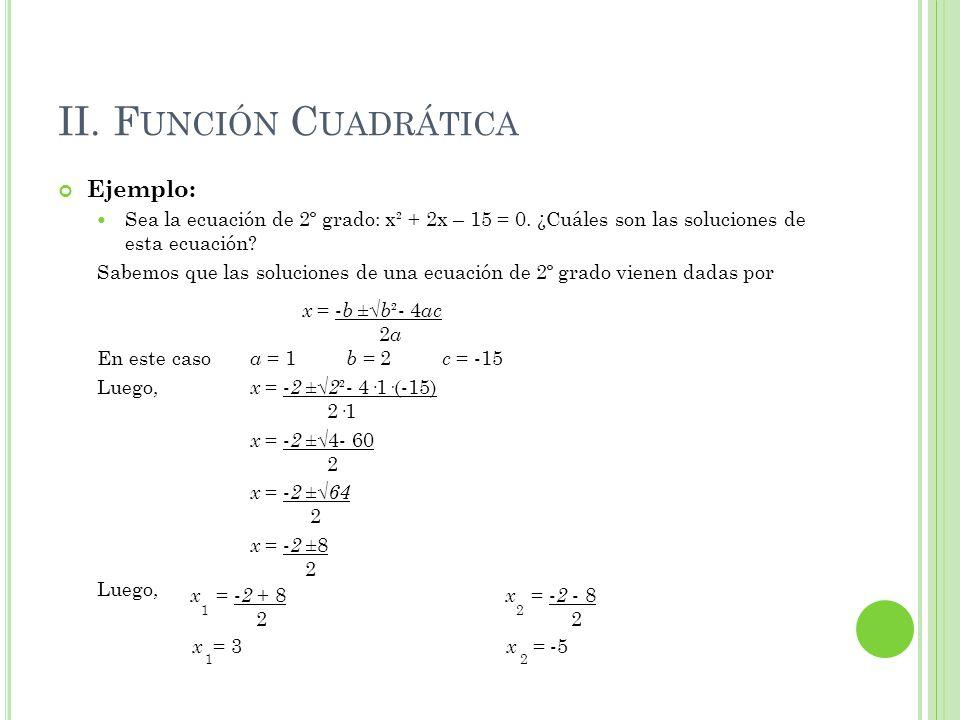 II. F UNCIÓN C UADRÁTICA Ejemplo: Sea la ecuación de 2º grado: x² + 2x – 15 = 0. ¿Cuáles son las soluciones de esta ecuación? Sabemos que las solucion