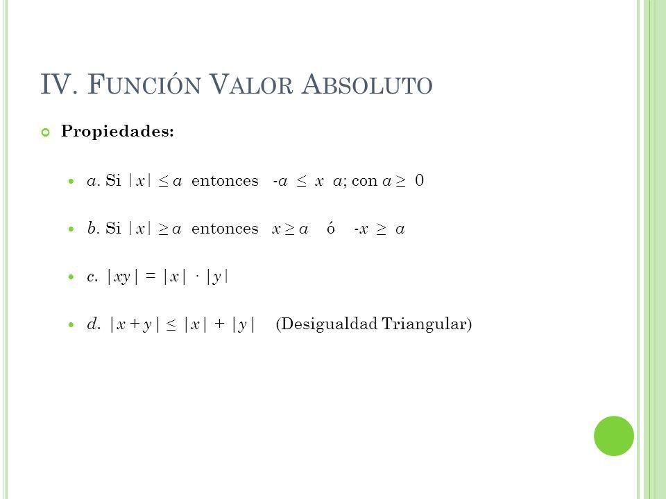 IV. F UNCIÓN V ALOR A BSOLUTO Propiedades: a. Si   x   a entonces - a x a ; con a 0 b. Si   x   a entonces x a ó - x a c.  xy  =  x  ·  y   d.  x + y 