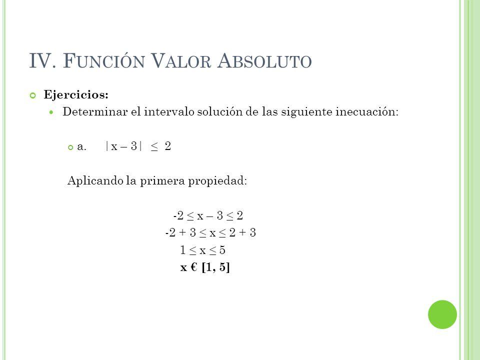 IV. F UNCIÓN V ALOR A BSOLUTO Ejercicios: Determinar el intervalo solución de las siguiente inecuación: a.  x – 3  2 Aplicando la primera propiedad: -