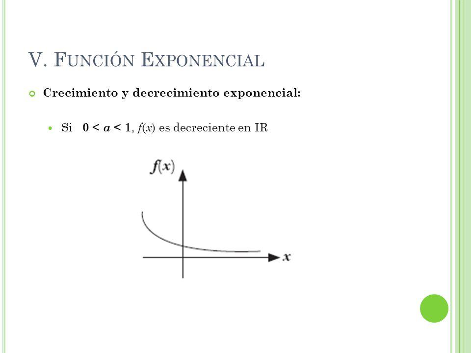 V. F UNCIÓN E XPONENCIAL Crecimiento y decrecimiento exponencial: Si 0 < a < 1, f ( x ) es decreciente en IR