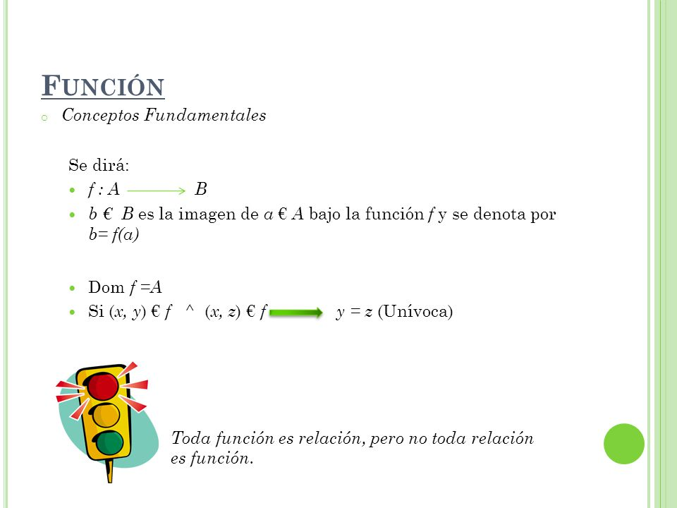 o Conceptos Fundamentales Se dirá: f : A B b B es la imagen de a A bajo la función f y se denota por b= f(a) Dom f =A Si ( x, y ) f ^ ( x, z ) f y = z