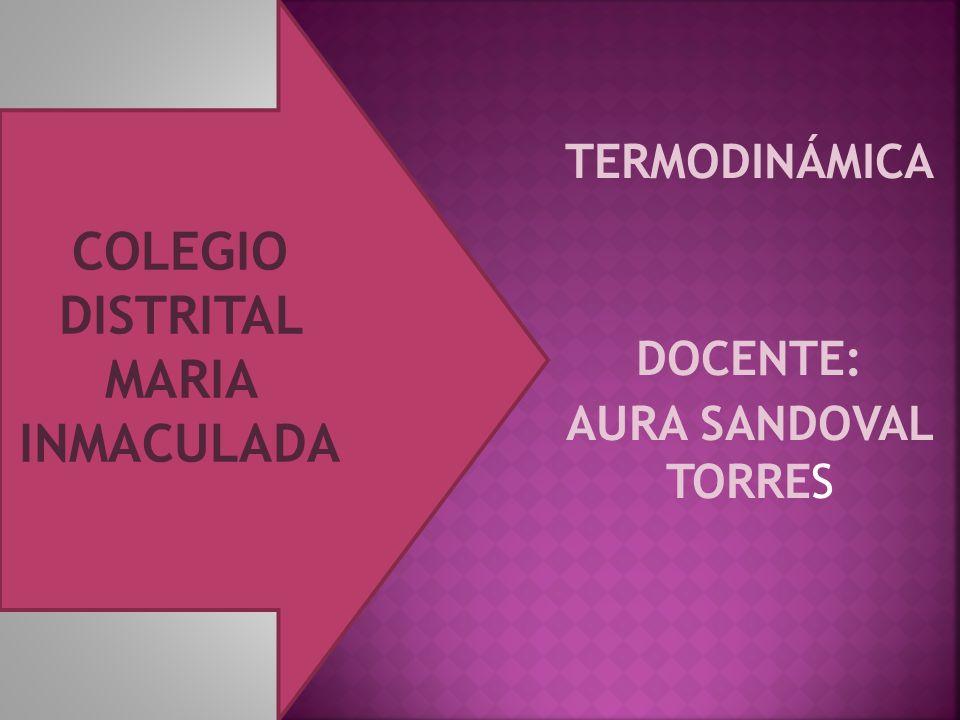 TERMODINÁMICA DOCENTE: AURA SANDOVAL TORRES COLEGIO DISTRITAL MARIA INMACULADA