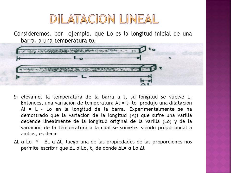 Consideremos, por ejemplo, que Lo es la longitud inicial de una barra, a una temperatura t 0. Si elevamos la temperatura de la barra a t, su longitud