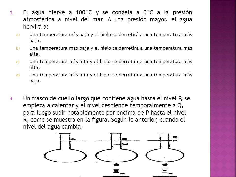 a) Una temperatura más baja y el hielo se derretirá a una temperatura más baja. b) Una temperatura más baja y el hielo se derretirá a una temperatura