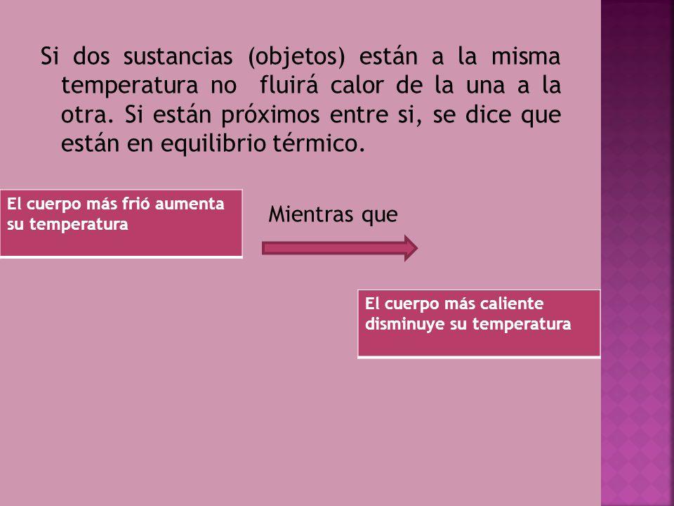 Si dos sustancias (objetos) están a la misma temperatura no fluirá calor de la una a la otra. Si están próximos entre si, se dice que están en equilib