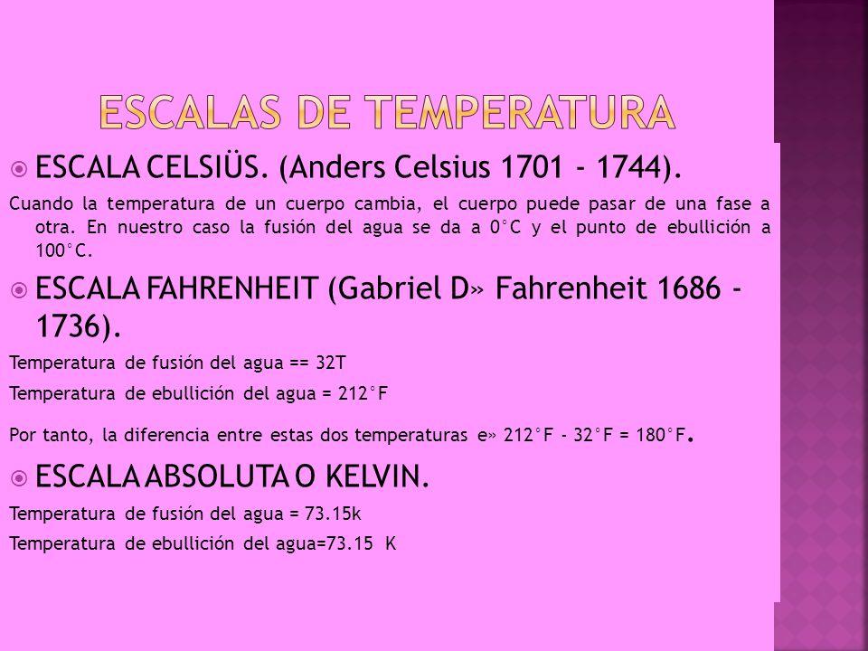 ESCALA CELSIÜS. (Anders Celsius 1701 - 1744). Cuando la temperatura de un cuerpo cambia, el cuerpo puede pasar de una fase a otra. En nuestro caso la