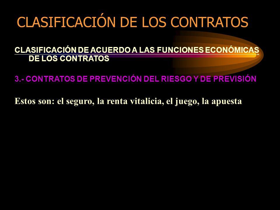 CLASIFICACIÓN DE ACUERDO A LAS FUNCIONES ECONÓMICAS DE LOS CONTRATOS 3.- CONTRATOS DE PREVENCIÓN DEL RIESGO Y DE PREVISIÓN Estos son: el seguro, la renta vitalicia, el juego, la apuesta CLASIFICACIÓN DE LOS CONTRATOS