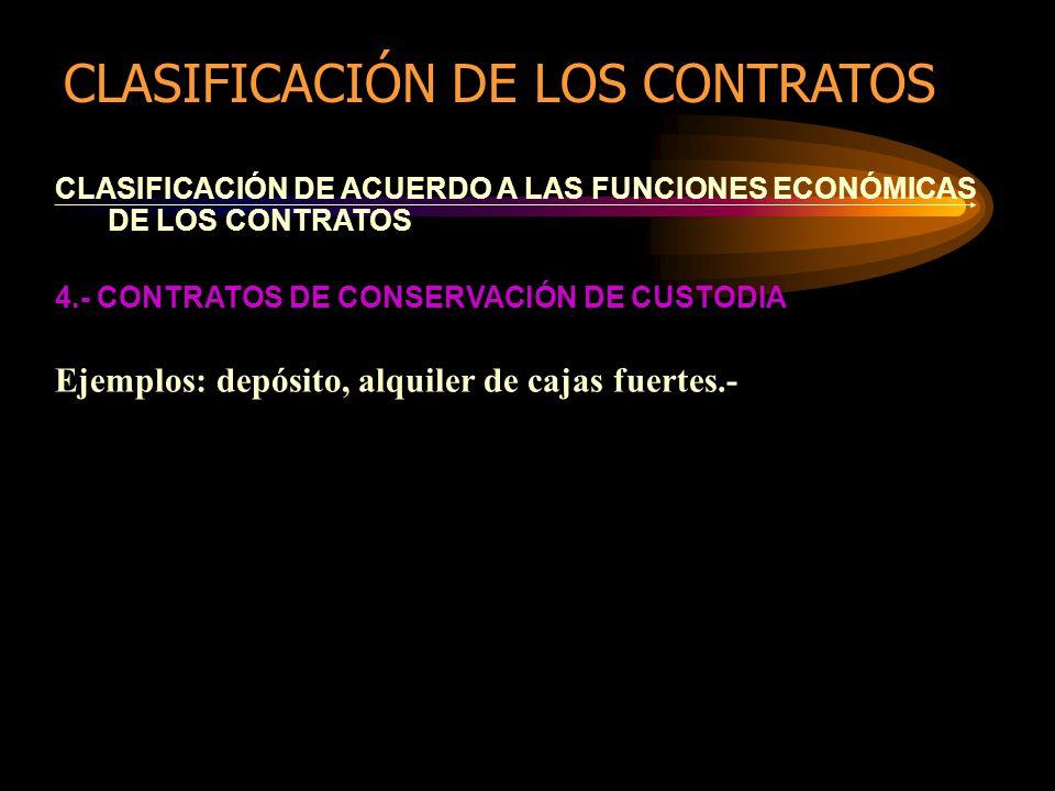 CLASIFICACIÓN DE ACUERDO A LAS FUNCIONES ECONÓMICAS DE LOS CONTRATOS 4.- CONTRATOS DE CONSERVACIÓN DE CUSTODIA Ejemplos: depósito, alquiler de cajas fuertes.- CLASIFICACIÓN DE LOS CONTRATOS
