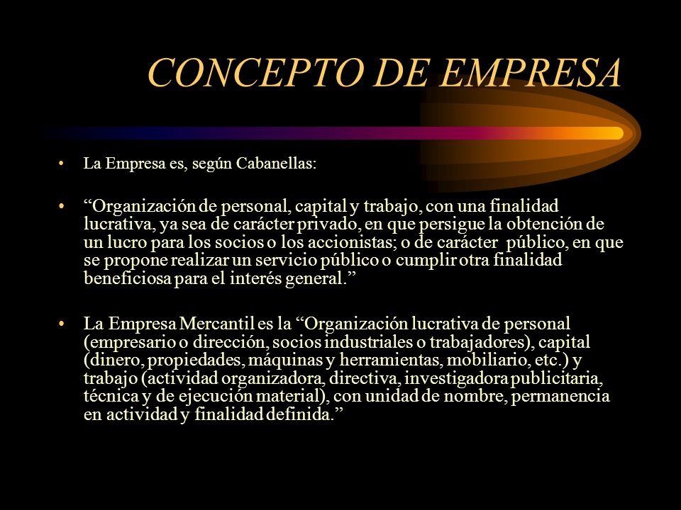 CONCEPTO DE EMPRESA La Empresa es, según Cabanellas: Organización de personal, capital y trabajo, con una finalidad lucrativa, ya sea de carácter priv
