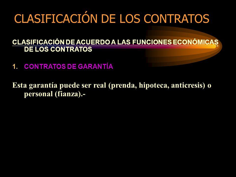 CLASIFICACIÓN DE ACUERDO A LAS FUNCIONES ECONÓMICAS DE LOS CONTRATOS 1.CONTRATOS DE GARANTÍA Esta garantía puede ser real (prenda, hipoteca, anticresis) o personal (fianza).- CLASIFICACIÓN DE LOS CONTRATOS