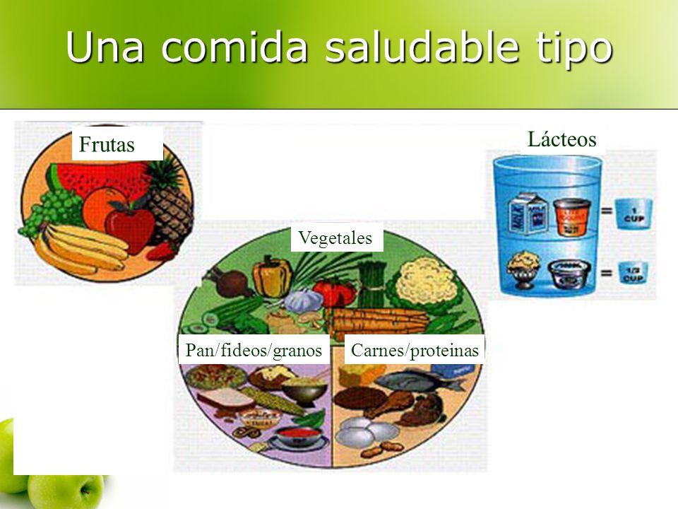 Una comida saludable tipo Lácteos Frutas Vegetales Pan/fideos/granosCarnes/proteinas