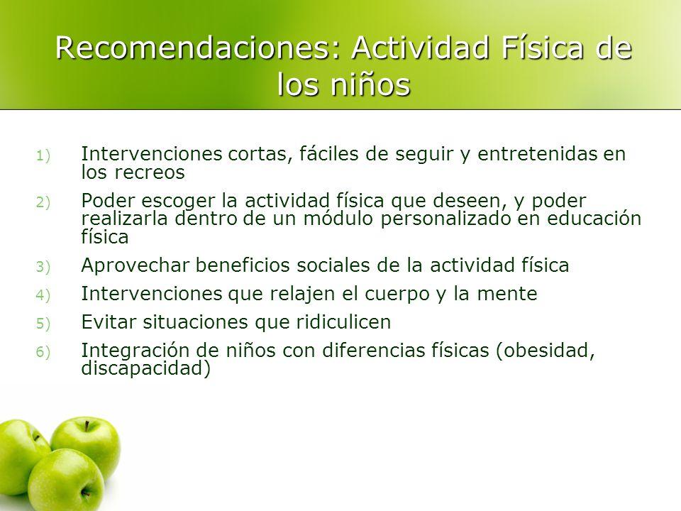 Recomendaciones: Actividad Física de los niños 1) Intervenciones cortas, fáciles de seguir y entretenidas en los recreos 2) Poder escoger la actividad