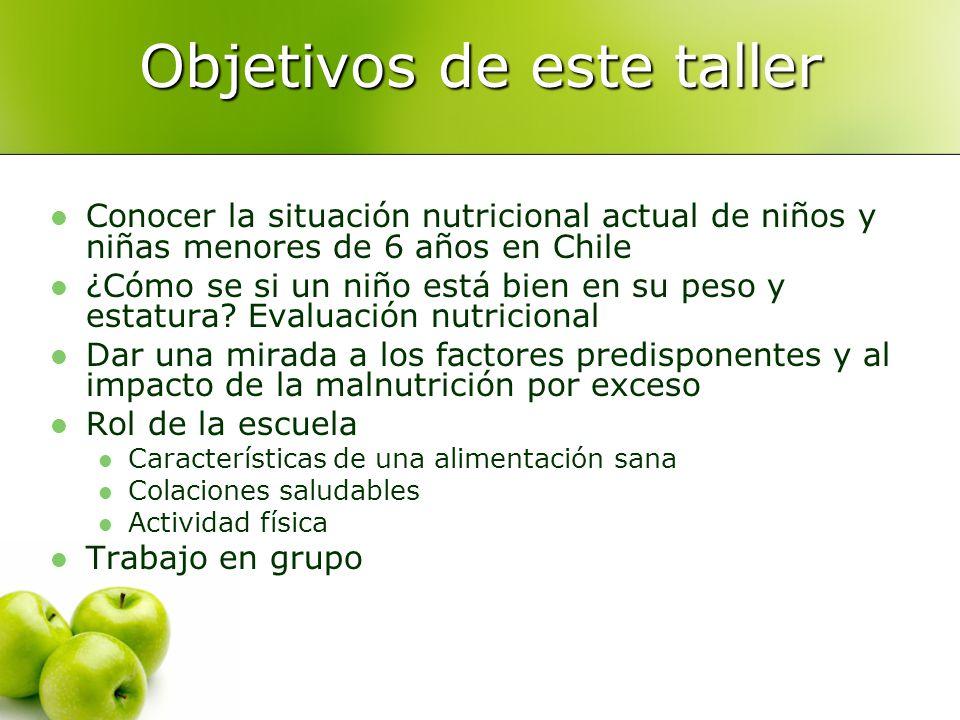Objetivos de este taller Conocer la situación nutricional actual de niños y niñas menores de 6 años en Chile ¿Cómo se si un niño está bien en su peso y estatura.