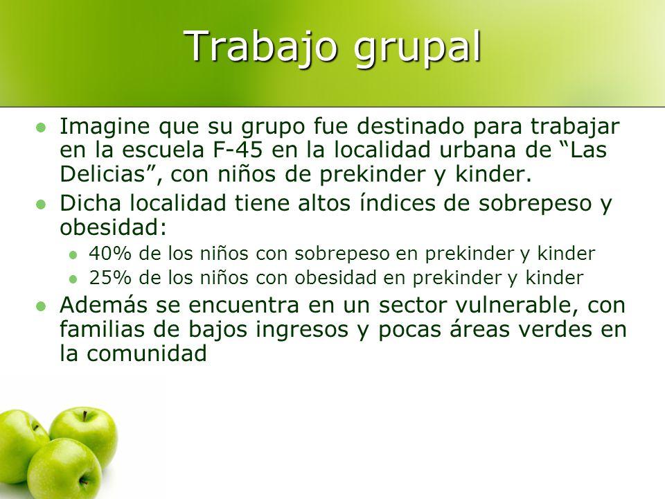 Trabajo grupal Imagine que su grupo fue destinado para trabajar en la escuela F-45 en la localidad urbana de Las Delicias, con niños de prekinder y kinder.
