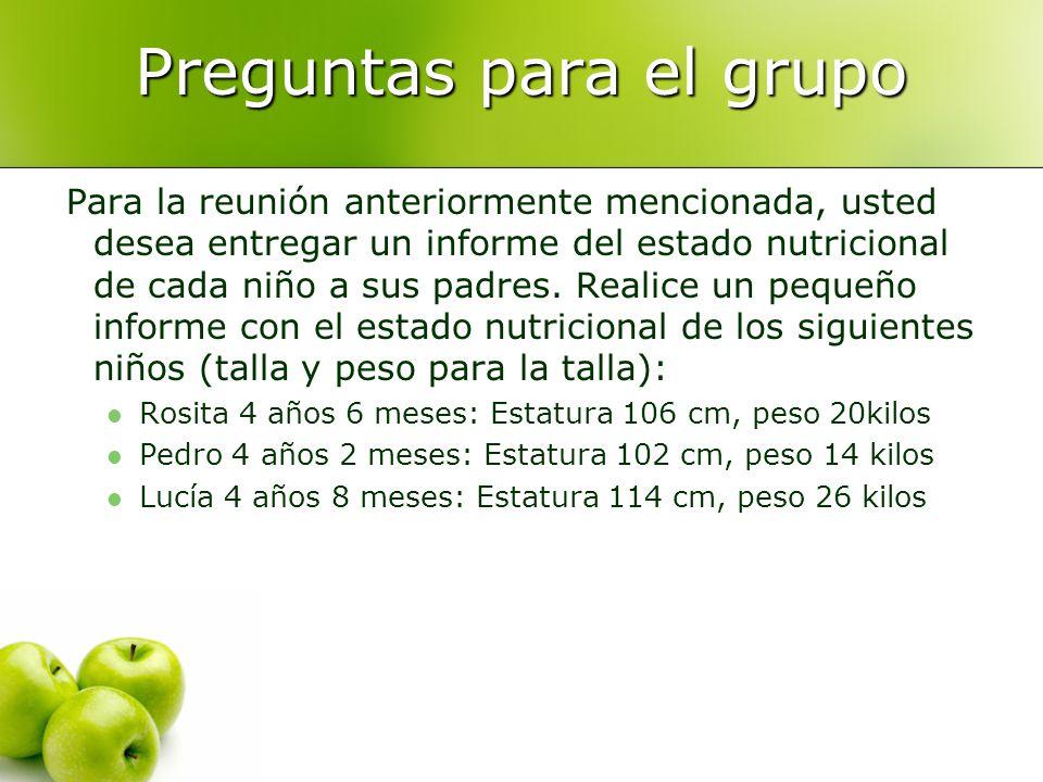 Preguntas para el grupo Para la reunión anteriormente mencionada, usted desea entregar un informe del estado nutricional de cada niño a sus padres. Re