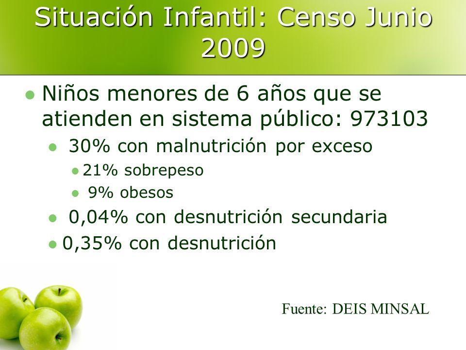 Situación Infantil: Censo Junio 2009 Niños menores de 6 años que se atienden en sistema público: 973103 30% con malnutrición por exceso 21% sobrepeso 9% obesos 0,04% con desnutrición secundaria 0,35% con desnutrición Fuente: DEIS MINSAL