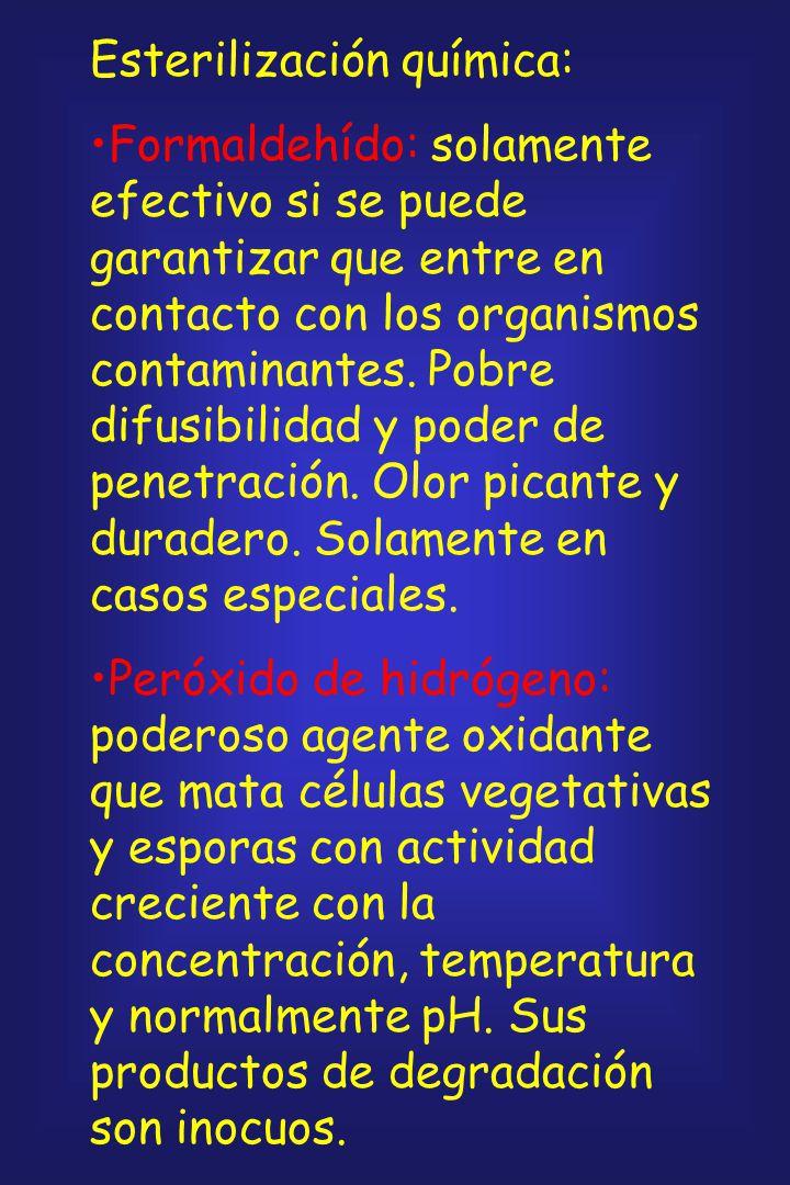 Esterilización por radiaciones: Normalmente se lleva a cabo con una fuente de cobalto-60 o de cesio-137. El efecto letal es siempre mayor en presencia