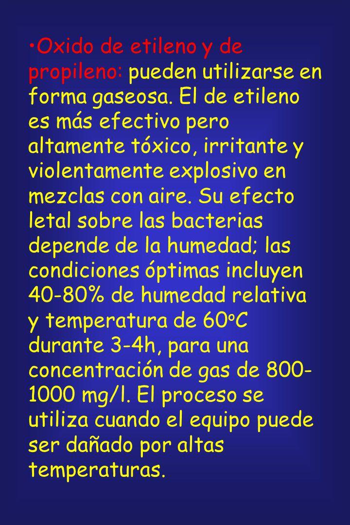 Esterilización química: Formaldehído: solamente efectivo si se puede garantizar que entre en contacto con los organismos contaminantes. Pobre difusibi
