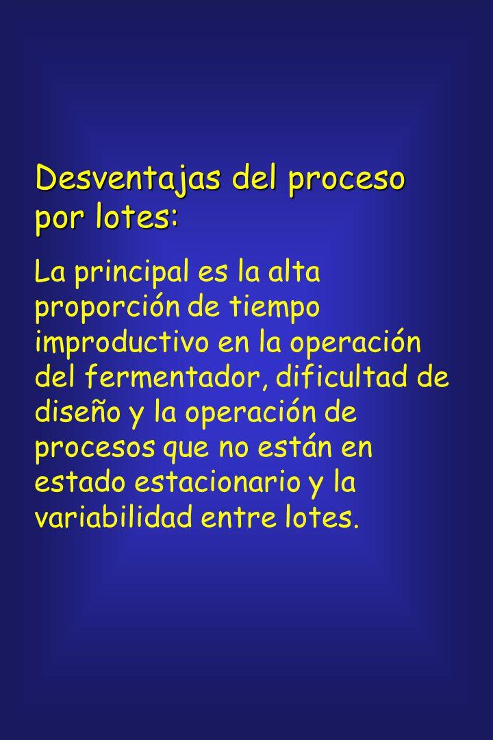 Ventajas de un proceso por lotes: Las principales son: menor riesgo de contaminación, flexibilidad operacional cuando los fermentadores se utilizan pa
