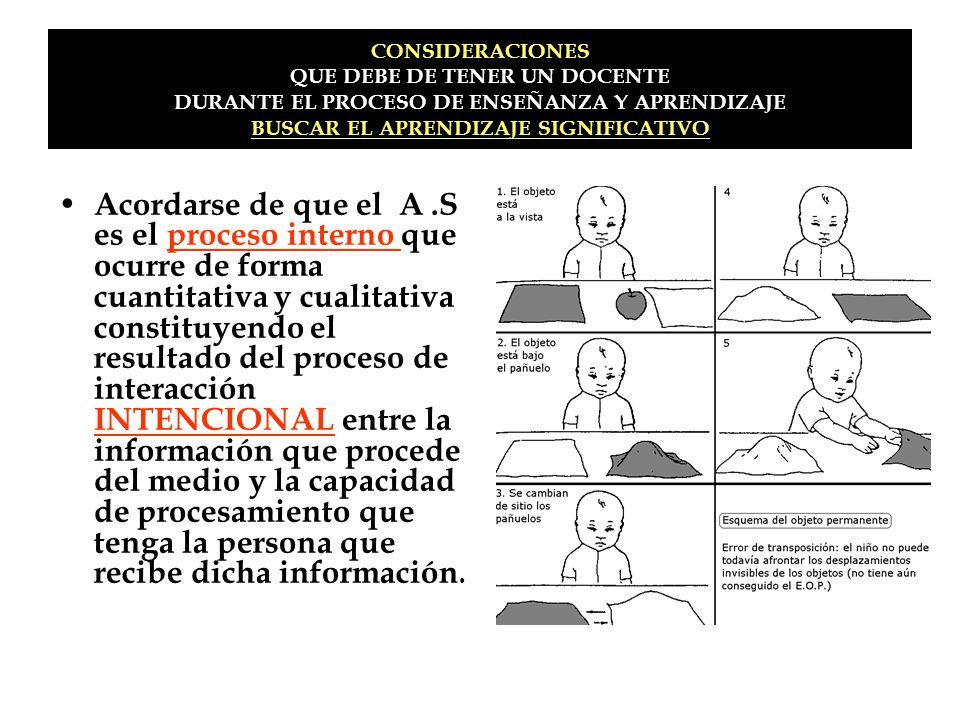 CONSIDERACIONES QUE DEBE DE TENER UN DOCENTE DURANTE EL PROCESO DE ENSEÑANZA Y APRENDIZAJE BUSCAR EL APRENDIZAJE SIGNIFICATIVO Acordarse de que el A.S
