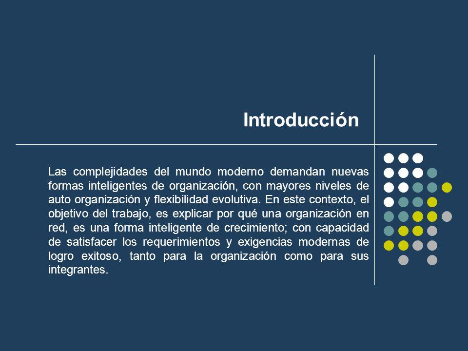 Introducción Las complejidades del mundo moderno demandan nuevas formas inteligentes de organización, con mayores niveles de auto organización y flexi