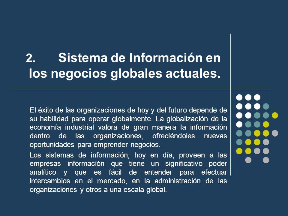 2. Sistema de Información en los negocios globales actuales. El éxito de las organizaciones de hoy y del futuro depende de su habilidad para operar gl