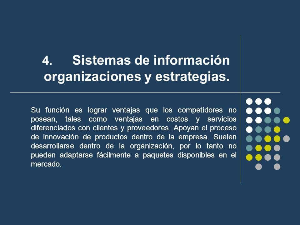 4. Sistemas de información organizaciones y estrategias. Su función es lograr ventajas que los competidores no posean, tales como ventajas en costos y