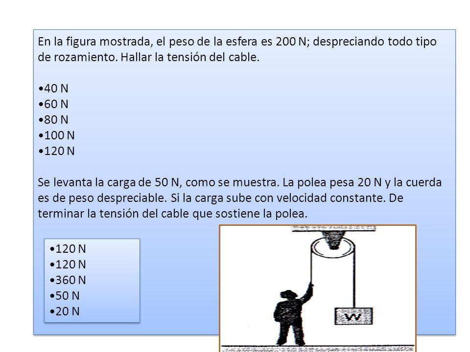 En la figura mostrada, el peso de la esfera es 200 N; despreciando todo tipo de rozamiento. Hallar la tensión del cable. 40 N 60 N 80 N 100 N 120 N Se