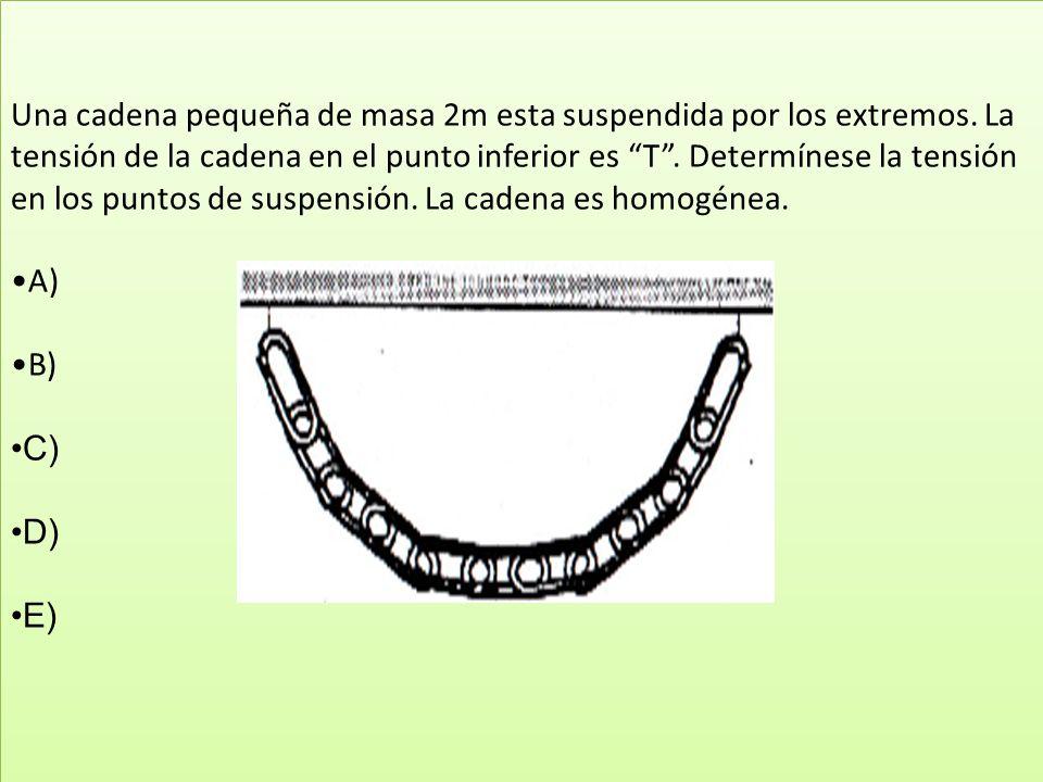 Una cadena pequeña de masa 2m esta suspendida por los extremos. La tensión de la cadena en el punto inferior es T. Determínese la tensión en los punto