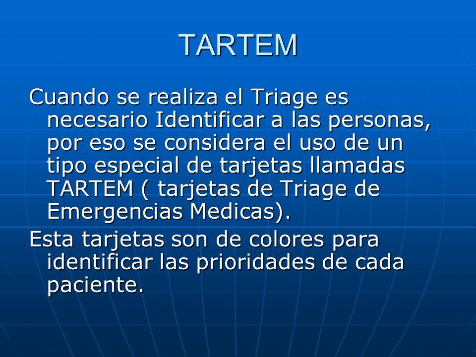TARTEM Cuando se realiza el Triage es necesario Identificar a las personas, por eso se considera el uso de un tipo especial de tarjetas llamadas TARTE