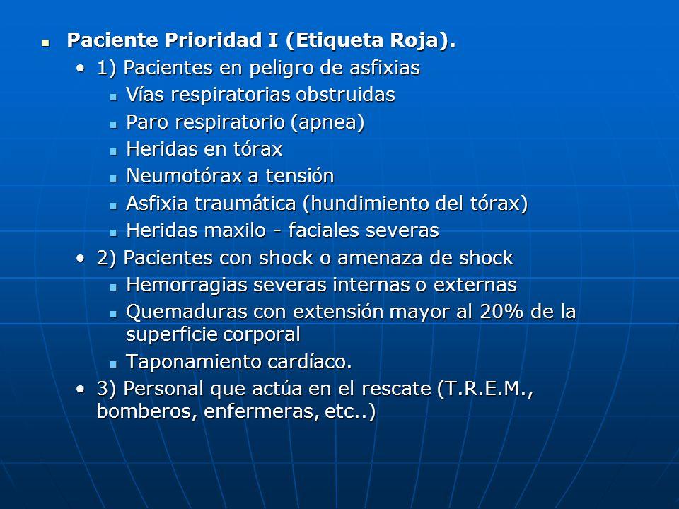 Paciente Prioridad I (Etiqueta Roja). Paciente Prioridad I (Etiqueta Roja). 1) Pacientes en peligro de asfixias1) Pacientes en peligro de asfixias V í
