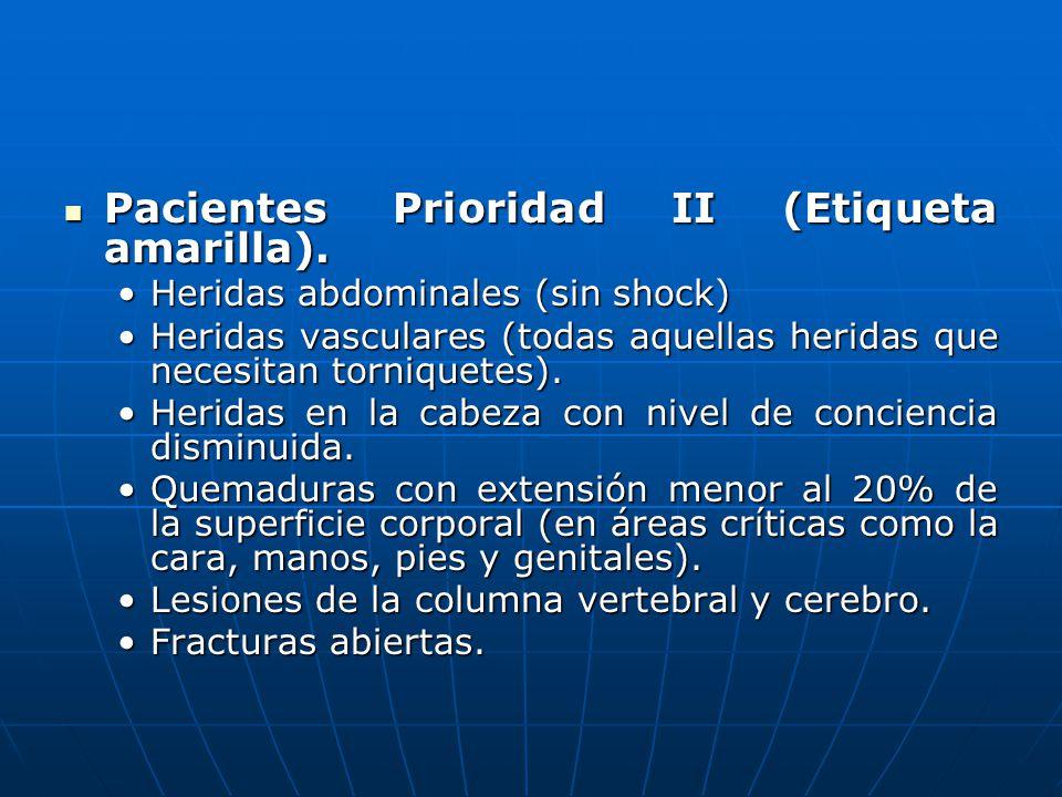 Pacientes Prioridad II (Etiqueta amarilla). Pacientes Prioridad II (Etiqueta amarilla). Heridas abdominales (sin shock)Heridas abdominales (sin shock)