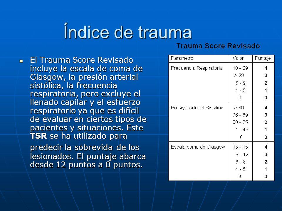 Índice de trauma El Trauma Score Revisado incluye la escala de coma de Glasgow, la presión arterial sistólica, la frecuencia respiratoria, pero excluy