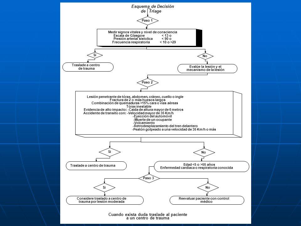 Esquema de Decisión de Triage Paso 1 Medir signos vitales y nivel de consciencia Escala de Glasgow < 13 o Presión arterial sistolica < 90 o Frecuencia