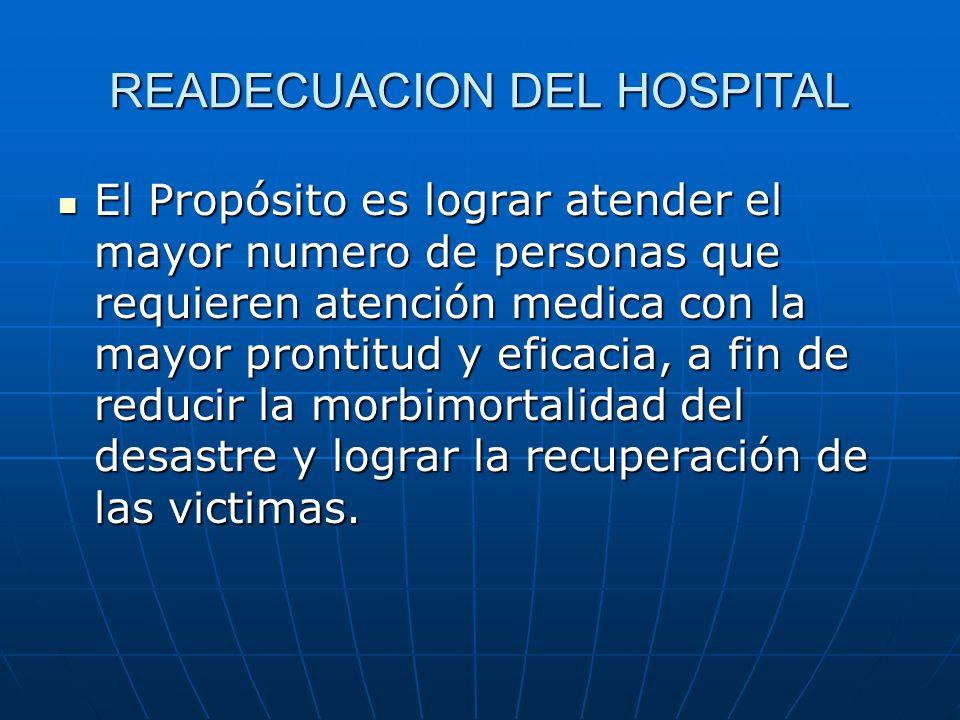 READECUACION DEL HOSPITAL El Propósito es lograr atender el mayor numero de personas que requieren atención medica con la mayor prontitud y eficacia,