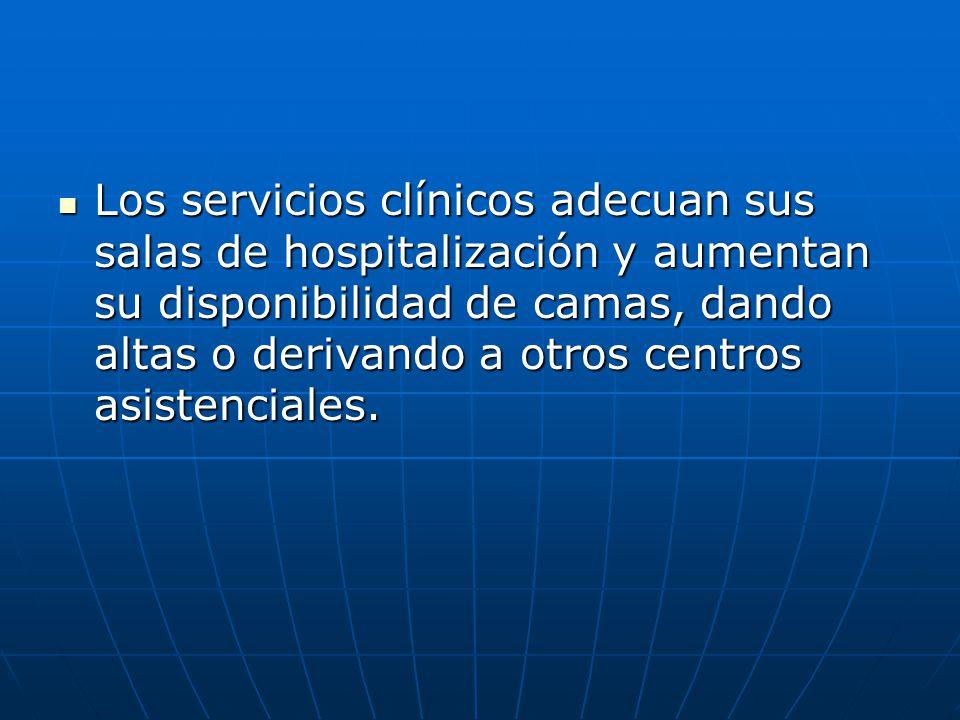 Los servicios clínicos adecuan sus salas de hospitalización y aumentan su disponibilidad de camas, dando altas o derivando a otros centros asistencial