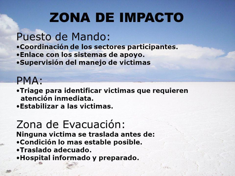 ZONA DE IMPACTO Puesto de Mando: Coordinación de los sectores participantes. Enlace con los sistemas de apoyo. Supervisión del manejo de victimas PMA: