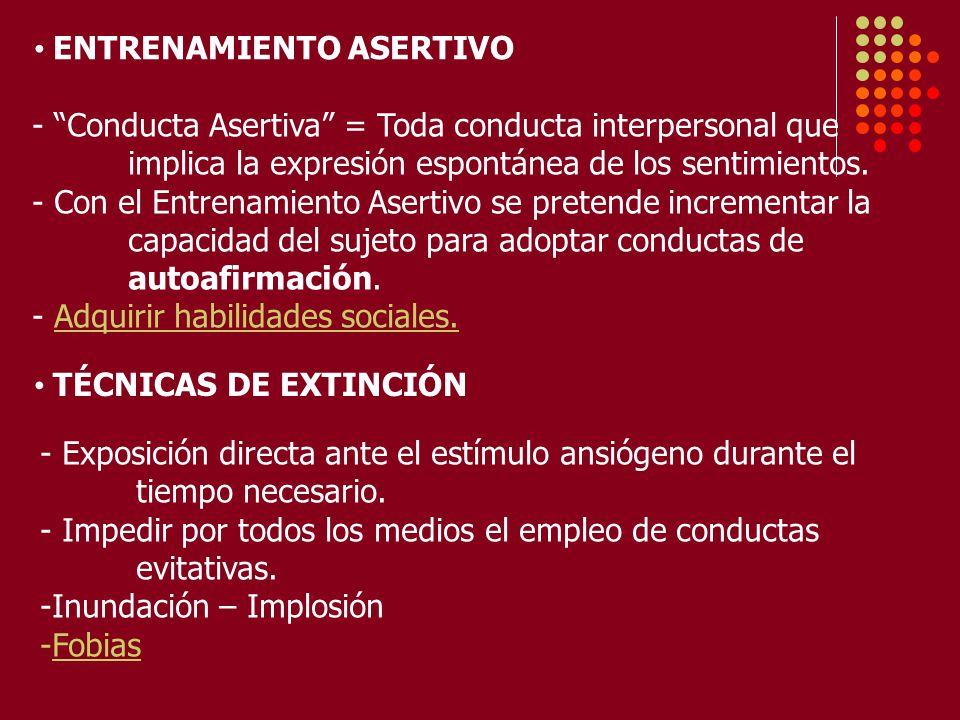 ENTRENAMIENTO ASERTIVO - Conducta Asertiva = Toda conducta interpersonal que implica la expresión espontánea de los sentimientos.