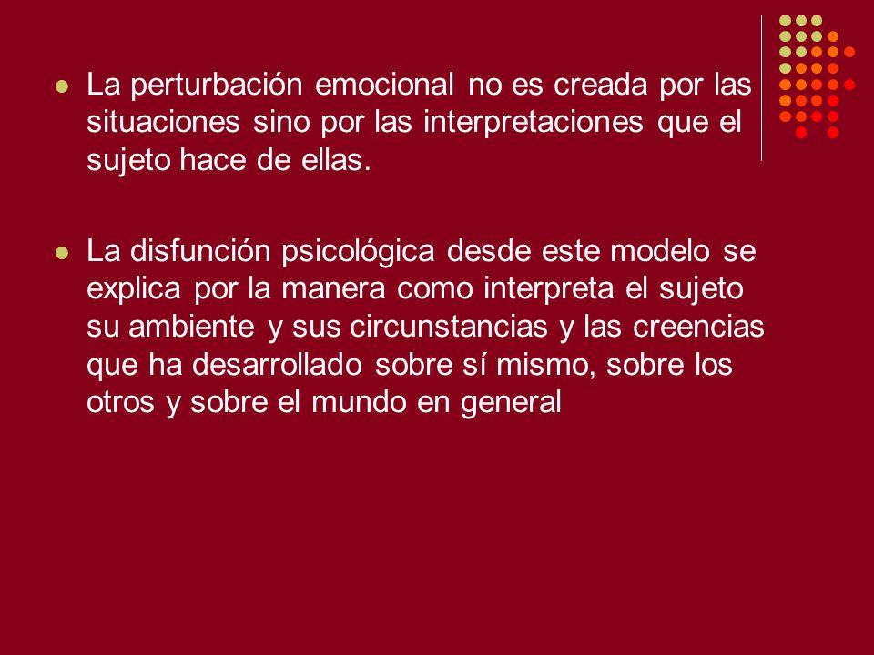 La perturbación emocional no es creada por las situaciones sino por las interpretaciones que el sujeto hace de ellas.