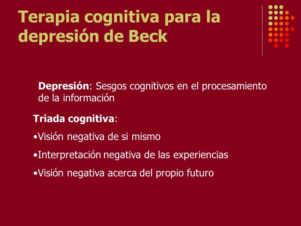 Terapia cognitiva para la depresión de Beck Depresión: Sesgos cognitivos en el procesamiento de la información Triada cognitiva: Visión negativa de si mismo Interpretación negativa de las experiencias Visión negativa acerca del propio futuro